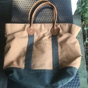 LL Bean Canvas Tote Bag with Leather Straps